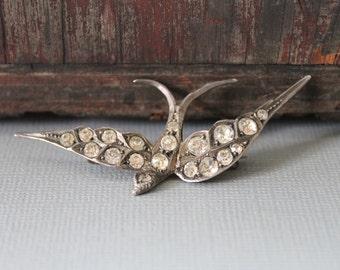 Victorian Silver Paste Swallow Brooch / Antique Wedding Brooch