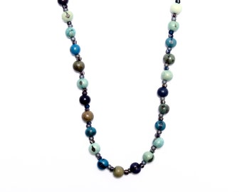 Acai Berries, Shades of Blue, Beach Casual Boho Necklace