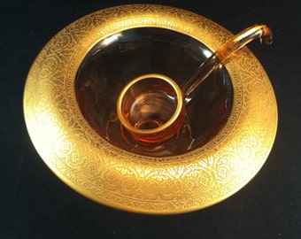 Vintage Amber Gold Etched Cambridge Mayonnaise Bowl w/ Ladle, Mayonnaise Bowls,Depression Glass, 1930's Glass, Elegant Glass Bowls,USA ONLY