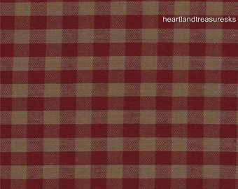 Dunroven House H 32 Homespun Red U0026 Wheat Checked Fabric 1/2 Yard Cut Off  The Bolt