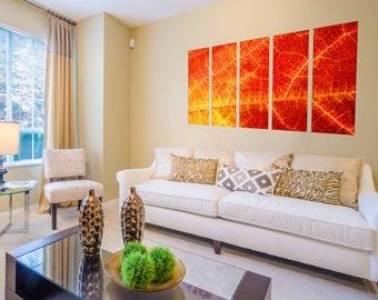 Canvas Prints - Leaves Canvas Art - Leaf Canvas Art - Leaves Prints on Canvas - Leaves Wall Art - Framed Ready to Hang  - Forest Decor