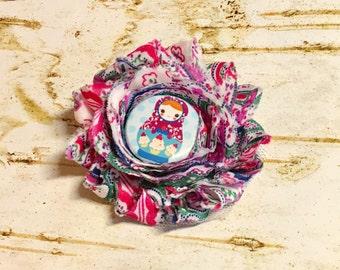 Fabric matryoshka hair clip, Chiffon Shabby Flower Little Girl Russian Nesting Doll Colorful Hair Non Slip First Birthday Folk Outfit