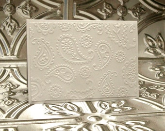 Paisley Note Cards, Paisley Embossed Note Card Set, Wedding Thank You Cards, Bridal Shower Thank You Cards, White Embossed Note Cards,