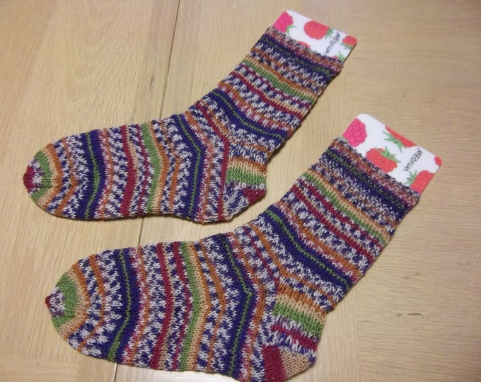 Socks - Hand Knitted Socks - Selfstriping - Mixed Colors Blue-Brown-Pink-White - Unisex