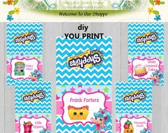 Shopkins Inspired Theme Food Tent- Name Place Cards - Printable, DIY, Digital PDF File 12 Designs Instant Download