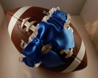 Football Toss Garter Royal blue Bow White Satin Football Charm Wedding Accessories Football Band ( Football not included)