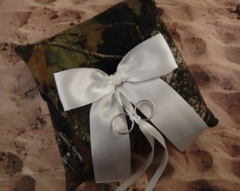 Camo Camouflage Green Brown White Bow Wedding Ring Bearer Pillow