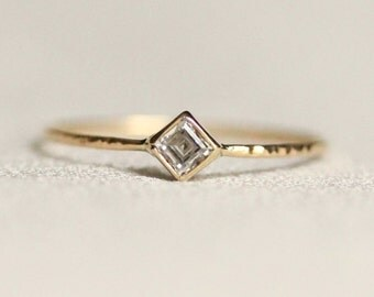 Delicate Square Cubic Zirconia Stack Ring - Solid 14k White or Yellow Gold - Dainty Princess Stacking Ring with Step Cut Stone - Hammered