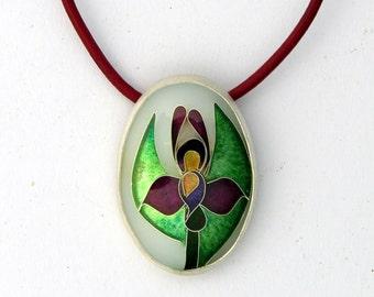 Cloisonne pendant - Japanese Iris-  Fine Silver, sterling silver - Cloisonne Pendant