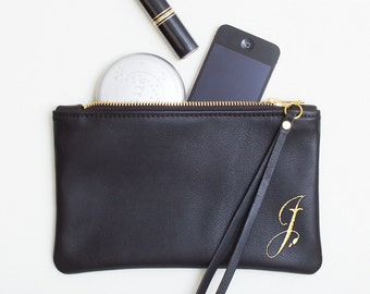 Leather Monogram Clutch, Personalized Black Leather Clutch, Minimal Wristlet, Monogrammed Wedding Clutch, Bridesmaid Gift, Bridal Party Gift