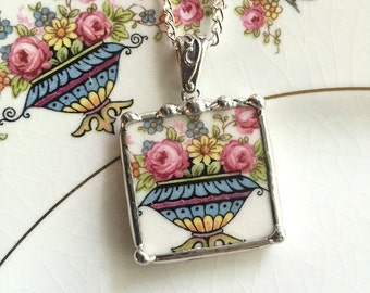 Upcycled recycled broken china basket of flowers pink roses broken china jewelry pendant necklace