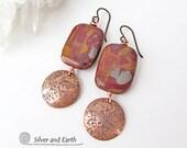 Noreena Jasper Earrings, Copper Earrings, Australian Stone Earrings, Natural Stone Jewelry, Earrings with Stones, Handmade Copper Jewelry