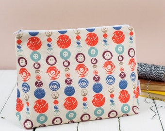 Buttons Toiletry Bag, large pouch with zip fasten, cosmetic bag