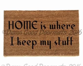 Leave unwelcome doormat funny rude mature by damngooddoormats - Doormat that says leave ...