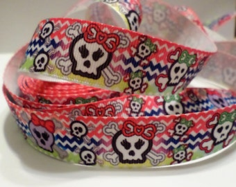 Monster High Skull Heads Chevron Grosgrain Ribbon 1 Yard