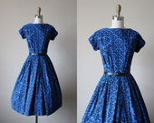50s Dress - Vintage 1950s Dress - Cobalt Blue Black Baroque Print Cotton Full Skirt Sundress S M - Bleuberry Dress