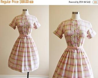 ON SALE 50s Dress - Vintage 1950s Dress - Pink Cocoa Pintucked Plaid Cotton Full Skirt Shirt Dress S - Corn Maze