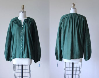 Vintage Indian Cotton Top - Rustic Pine Green India Festival Gauze Cotton Embroidered Tunic Blouse - Deadstock