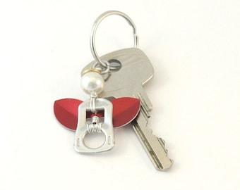 Red pop tab angel keychain, soda can tab angel keyring,  soda tab angel bag charm, angel key charm, upcycled keychain, recycled keychain