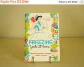 Freezing Foods at Home book, vintage 1959 home economics, housewife's guide to freezing meat, poultry, eggs, shower gift, money saving tips