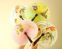 Chinese folding fan, vintage portable folding fan, purse size, Oriental accordion hand-held fan, choose 1, Oriental home decor