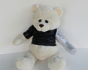 Large White Winter Soldier Bucky Bear, altered bear stuffed toy