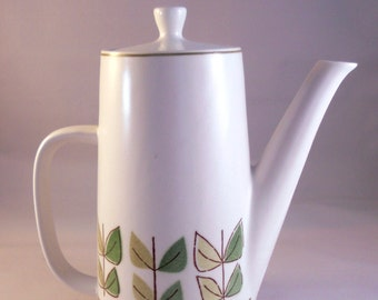 "Rare Mikasa ""Beaux"" Terra Stone Mid Century Modern Coffee Pot. 1960s. Ironstone from Japan."