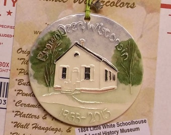 Brown Deer Little White Schoolhouse Wisconsin Ornament   Handmade ceramic, includes gift wrap