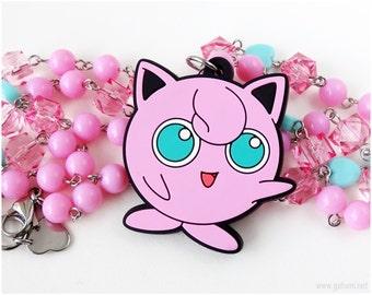 Jigglypuff Pokemon Necklace, Bubblegum Pink, Teal, Pokemon Jewelry, Gamer Girl, Decora, Kawaii