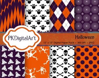 "Halloween Digital Paper - ""Halloween""  patterns backgrounds, projects, design, scrapbooking"