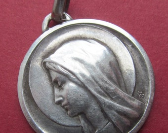 Vintage French Silver Virgin Mary Religious Medal Lourdes Pendant   SS109