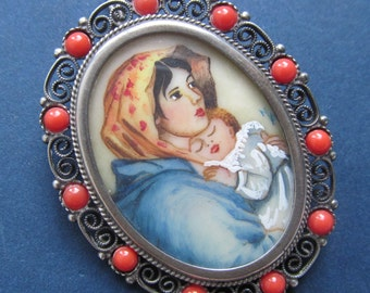 Vintage Virgin Mary Brooch Hand Painted Madonna Of The Street Miniature Pendant 800 Silver Setting