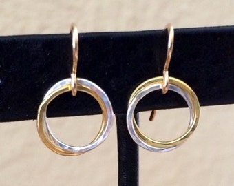 Two- tone Gold and Sterling Silver Circle Earrings