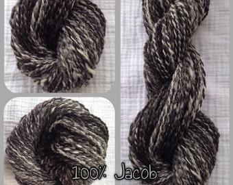 Hand Spun Yarn - DK - 100% Jacob Wool Mixed Natural Color - 2.7 oz - 110 yards (HS1507)