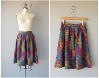 Vintage Wool Skirt | 1950s Skirt | 50s Wool Skirt | Plaid Skirt | Full Skirt