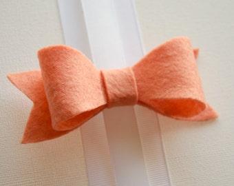 Hair Bow - Classic Peach Felt Hair Bow with Tails