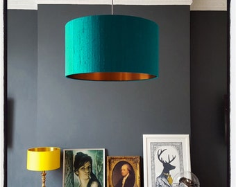 Teal Indian Silk Dupion Lampshade With Brushed Copper or Gold Lining
