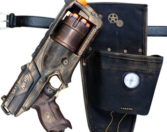 Steampunk STRONGARM toy Gun HOLSTER  BELT Zombie walking man Nerf soft dart Vampire Victorian cosplay Limited