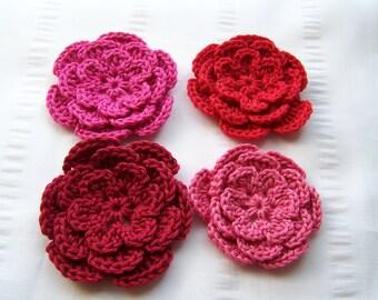 Flower crochet motif 2.5 inch cotton pink