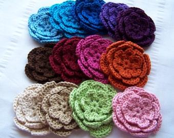 Appliques 13 hand crochet flower 3 inch cotton