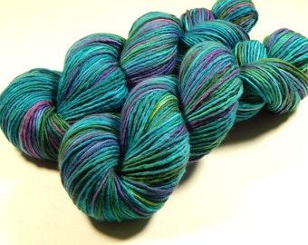 Hand Dyed Yarn - DK Weight Superwash Merino Wool Singles Yarn - Aegean Multi - Knitting Yarn, Single Ply Wool Yarn, Turquoise Blue Green