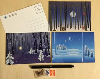 Winter Forest Illustration Postcards - Set of 3
