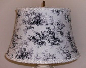 Black and White Toile Lampshade
