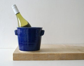Hand thrown stoneware wine cooler - glazed in ocean blue