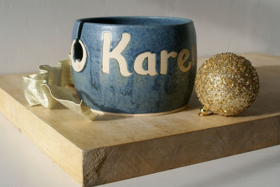 SHIPPING JANUARY - A customised hand thrown pottery yarn bowl with your own message