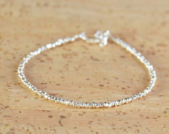 Sterling silver nuggets beads  bracelet.Sterling silver clasp