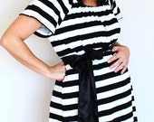 Maternity Hospital Soft Stretchy Knit Gown in Ashley - Perfect for Nursing and Skin to Skin - Choose Options - Black and White 1 Inch Stripe