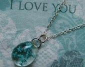 REAL Queen Anne's Lace Flower - Turquoise Blue Necklace - Crystal Clear Teardrop Pendant - Sterling Silver Chain - Choose Length
