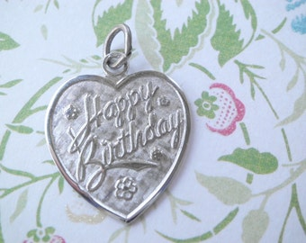 Vintage LaMode Sterling HAPPY BIRTHDAY Heart Charm