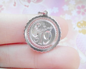 Vintage Silver EXCITING 19 Disk Charm